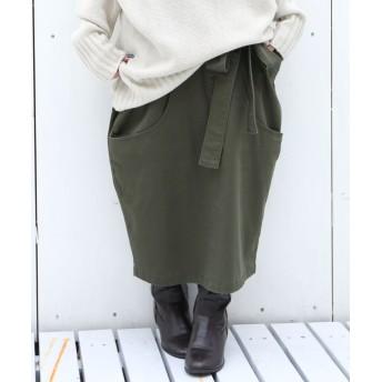 オシャレウォーカー 『n'Orコクーンデザインリボンスカート』 レディース カーキ フリーサイズ 【osharewalker】