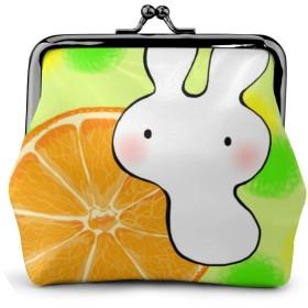 小銭入れ ミニ財布 コインケース ミニポーチ お札入れ うさぎ オレンジ 柄 小さい財布 PUレザー 小型でコンパクト 軽量 コイン 鍵 カード収納 約幅11.5cmx丈10.5cm