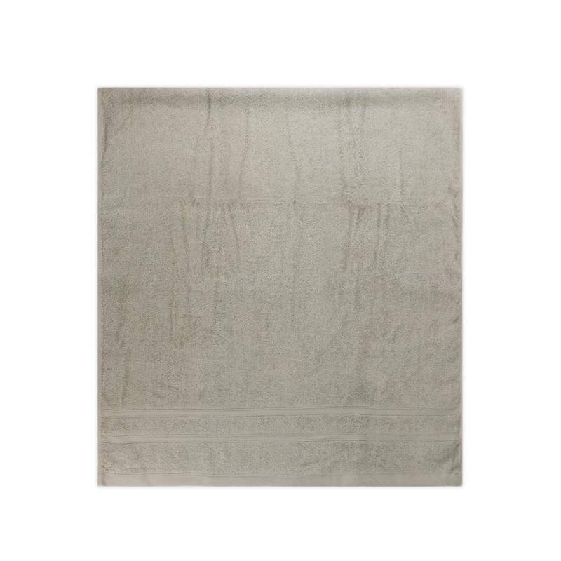 雙層緞檔浴巾-亮灰