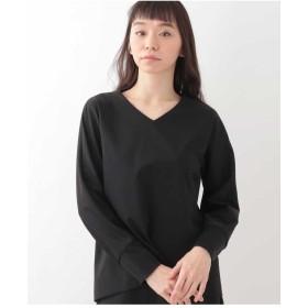 GEORGES RECH 【洗える】ポンチジャージーバックボタンカットソー Tシャツ・カットソー,ブラック