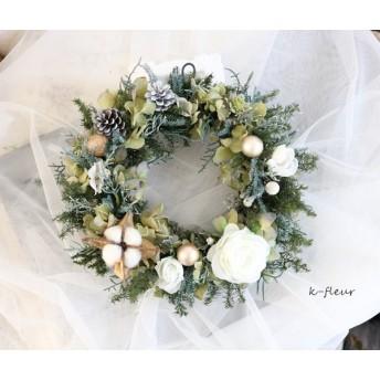 クリスマスリース 白バラ