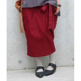 オシャレウォーカー 『n'Orコクーンデザインリボンスカート』 レディース レッド フリーサイズ 【osharewalker】