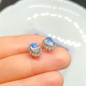 ムーンストーン ピアス 天然ダイヤモンド付き