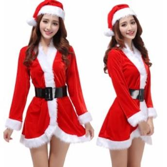 即納 サンタ コスプレ セクシー レディース 衣装 サンタクロース ドレス 制服  コスチューム かわいい ワンピース クリスマス 長袖
