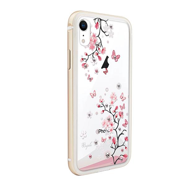 apbs iPhone XR 6.1吋施華彩鑽鋁合金屬框手機殼 金色日本櫻