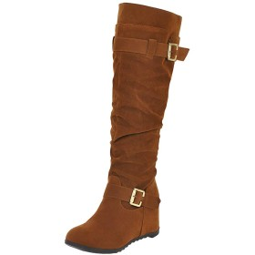 [Skapee] レディース 冬の靴 ウェッジヒール プリーツブーツ スリップオン セーター襟 ハイブーツ Brown サイズ 34