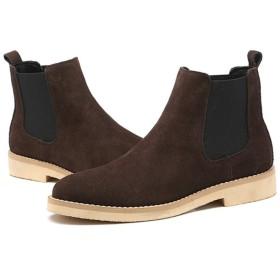 [YYBO] ブーツ メンズ 25.0cm ショートブーツ サイドゴアブーツ ブーツ カジュアル フォーマル スエード スウェード ブラウン フェイクレザー プレーントゥ ラウンドトゥ 紳士靴 男性の おしゃれ