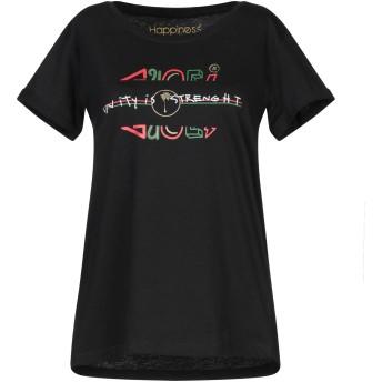 《セール開催中》HAPPINESS レディース T シャツ ブラック S コットン 100%