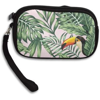 小銭入れ 財布 鳥 熱帯植物 ファスナーコインケース ミニ財布 小さい財布 キーケース 収納袋 大容量 軽量 多機能 可愛い おしゃれ メンズ レディース