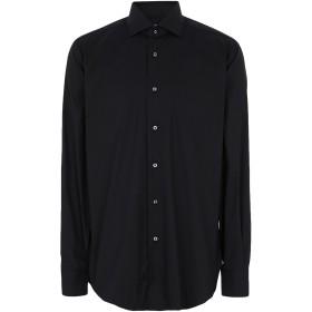 《セール開催中》BARBA Napoli メンズ シャツ ブラック 41 コットン 78% / ナイロン 18% / ゴム 4%