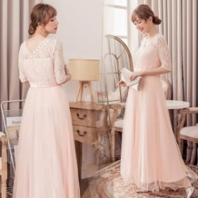 結婚式 ドレス パーティードレス お呼ばれ 大きいサイズ 二次会 披露宴 フォーマル ドレス パーティーワンピース レース ロングドレス 結
