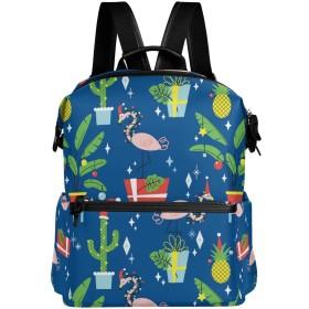 フラミンゴ サボテン かわいい リュック 学生用 デイパック レディース 大容量 バックパック 男女兼用 機能性 大容量 防水性 デザイン 旅行 ブックバッグ ファション