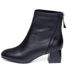 [AJGLJIYER LTD] ブーツ ショートブーツ レディース シューズ ブラック裏起毛 22.5cm ローヒール 靴 秋冬 黒 ブラック 脱げない 合皮 太ヒール ファッション 歩きやすい 美脚 かわいい おしゃれ 身長アップ 歩きやすい レディースブーツ