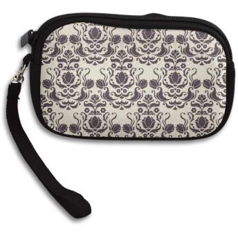 小銭入れ 財布 ヴィンテージダマスク織パターン ファスナーコインケース ミニ財布 小さい財布 キーケース 収納袋 大容量 軽量 多機能 可愛い おしゃれ メンズ レディース