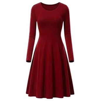 Jopinia_Women Dress レディース ラウンドネック ロングスリーブ 無地 コットン ミニドレス ファッション ゆったり エレガント スリム OL通勤 通販 快適な 大きいサイズ シンプル 花嫁