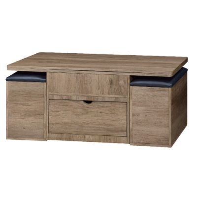 文創集 吉多普4尺升降功能大茶几(二色可選+椅凳二張)-120x60x53免組
