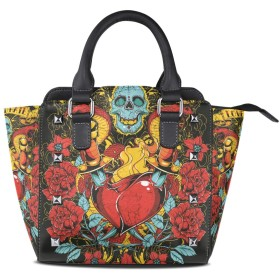 黒蛇の頭蓋骨女性の女の子のためのハンドバッグ女性クロスボディバッグ革サッチェル財布メイクトートバッグ