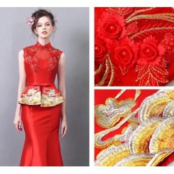 パーティードレス マーメイドライン 結婚式 披露宴 司会者 写真撮影 演奏会 舞台衣装  花柄刺繍 中国風 レッド ロングドレス