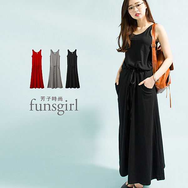 抽繩連身棉質長版洋裝3色~funsgirl芳子時尚
