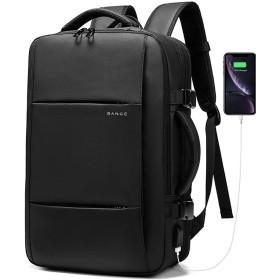 ETONWEAG リュックメンズ 3WAYビジネスリュック 15.6インチ PC リュック 大容量 USB充電ポート付きパソコン バックパック リュックサック180°開口 盗難防止 出張 旅行 通学 通勤 旅行 黒