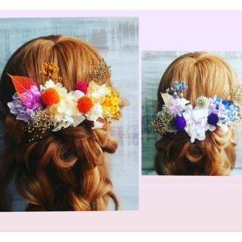 スケルトンリーフと千日紅の髪飾り ドライフラワー 成人式 結婚式 和装