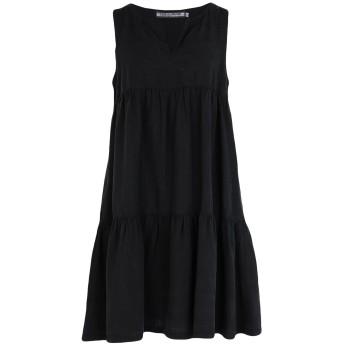《セール開催中》EUROPEAN CULTURE レディース ミニワンピース&ドレス ブラック S テンセル 72% / 麻 18% / コットン 10%