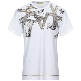 《セール開催中》VERSACE JEANS メンズ T シャツ ホワイト S コットン 100%