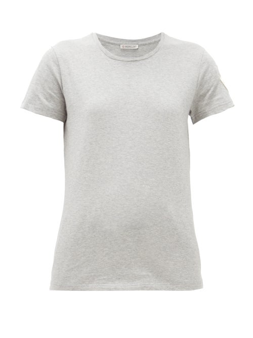 Moncler - Velvet-logo Appliqué Cotton-jersey T-shirt - Womens - Grey