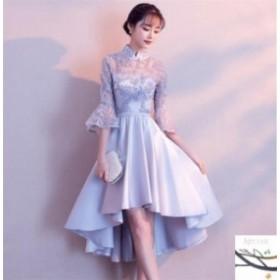 パーティードレス 結婚式 ミニドレス おしゃれ 大きいサイズ ドレス 不規則裾 パーティドレス 二次会 ウェディングドレス 半袖 ワンピー