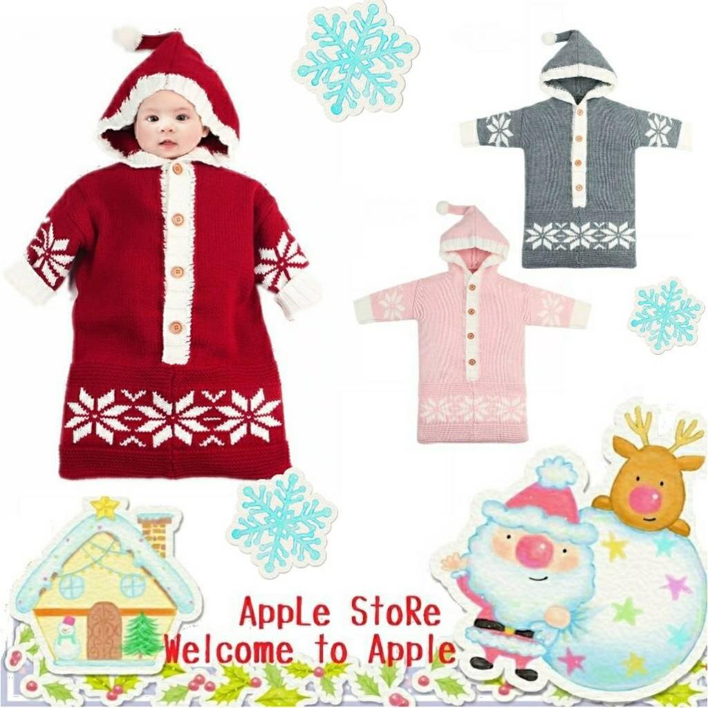 聖誕服飾 新生兒聖誕雪花寶寶針織睡袋 防踢被【蘋果小舖】(MC) 1911 A0
