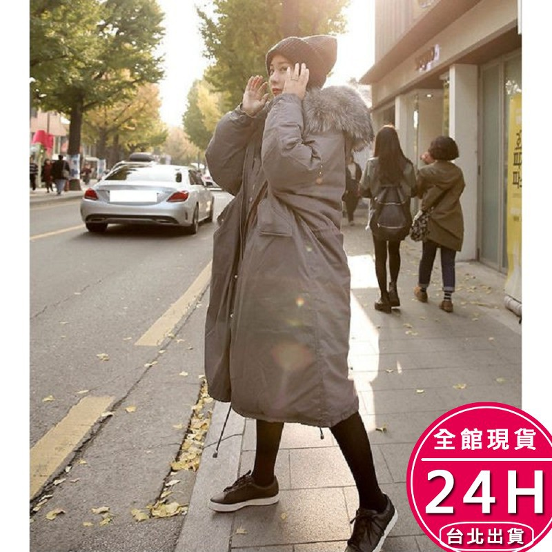 【現貨免運】梨卡 - 情侶可穿韓版超長版抽繩超大毛領軍裝外套大衣-奢華貉子毛領連帽加長版風衣A982