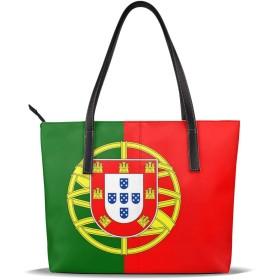 トートバッグ ポルトガル国旗 ハンドバッグ ショルダーバッグ PUレザー カバン 大容量 通勤 旅行 軽量 One Size Black