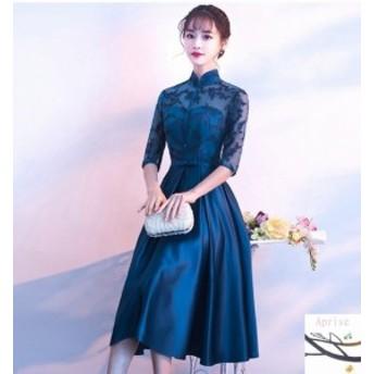 パーティードレス 結婚式 ドレス レース お呼ばれ 二次会ドレス ウエディングドレス 同窓会 袖あり パーティドレス 大きいサイズ ワンピ