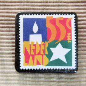 オランダ クリスマス切手ブローチ5643