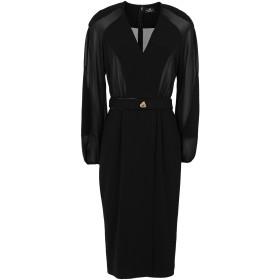 《セール開催中》ELISABETTA FRANCHI レディース 7分丈ワンピース・ドレス ブラック 46 ポリエステル 100%