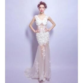 ウェディングドレス パーティドレス 二次会 結婚式 司会者 披露宴 花嫁  ロングドレス結婚式 レース 結婚式 お呼ばれドレス 30代