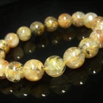 お勧め お試し価格 現品一点物 太陽放射ルチル ブレスレット 金針水晶 天然石 数珠 12ミリ OTHR29 最強金運