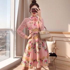 ワンピース 送料無料 バラ柄襟リボン肌透けレース長袖付きAライン膝丈ワンピース♪ピンク 大人 上品 きれいめ 韓国 ファッション
