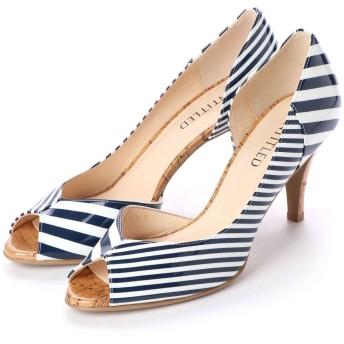 アンタイトル シューズ UNTITLED shoes オープントゥパンプス (ネイビーエナメルコンビ)