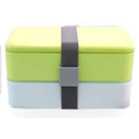 かわいいお弁当箱、学生のお弁当箱、電子レンジのお弁当箱、子供の大人のお弁当箱、長方形のダブル弁当箱、-green