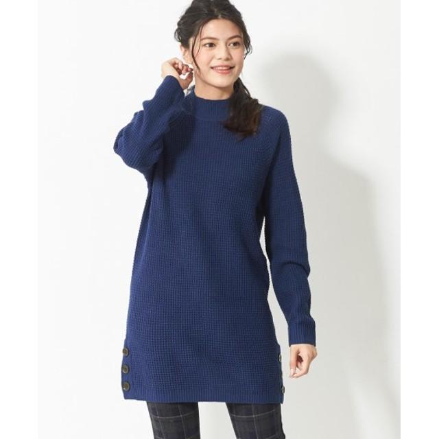 片畦編みハイネックニットチュニック (大きいサイズレディース)Tops, 上衣 , plus size
