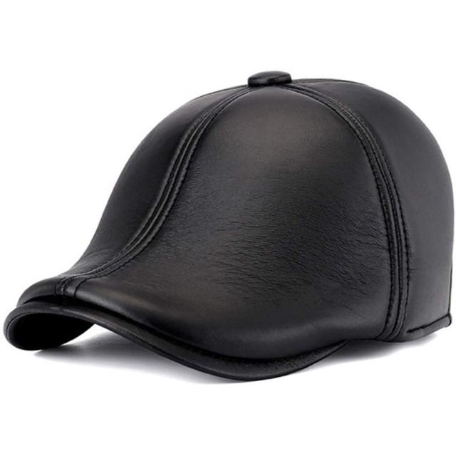 ハンチング帽子 フラットキャップ本革ヴィンテージキャスケット帽レザーハットキャップ八キャスケットベレー帽子ボールキャップブラック シンプル & ベーシック スタイル (Color : Black, Size : L)