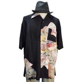 着物アロハシャツ 牡丹と菊と鶴留袖