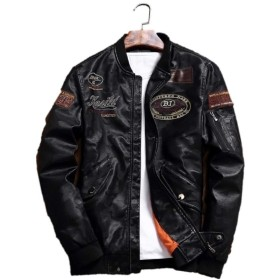〔mikan〕 メンズ 革ジャン バイク ジャケット ブラック レザー 黒 アウター スタジャン スカジャン ジャンパー (XL)