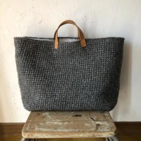 wool100/毛糸のトートバッグ/L(ダークグレー)