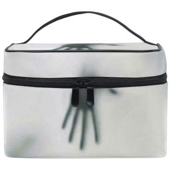 CHTT 恐怖 コスメ 化粧 ポーチ レディース 大容量 コンパクト 中身が見やすい シンプル 小物入れ 旅行 普段使い こぼれない ジッパー ポケット 整理