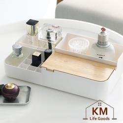 KM生活 日式簡約多功能木蓋化粧品盒/首飾收納盒/桌面儲物盒