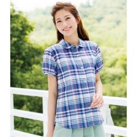 【レディース】 インド綿パフスリーブシャツ - セシール ■カラー:ブルー ■サイズ:M,L,LL
