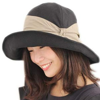 [ドリームハッツ] 帽子 レディース 折りたたみ UVカット帽子 つば広 ハット Mサイズ(57.5cm) (本体×リボン):ブラック×ブラウン