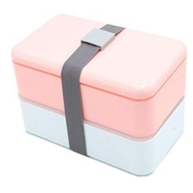 かわいいお弁当箱、学生のお弁当箱、電子レンジのお弁当箱、子供の大人のお弁当箱、長方形のダブル弁当箱、-red
